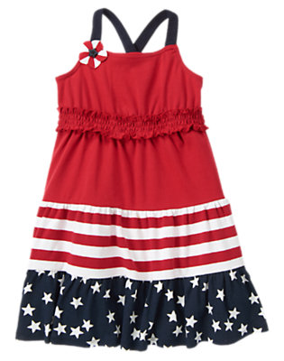 Girls Flag Red All-American Mixed Print Dress by Gymboree
