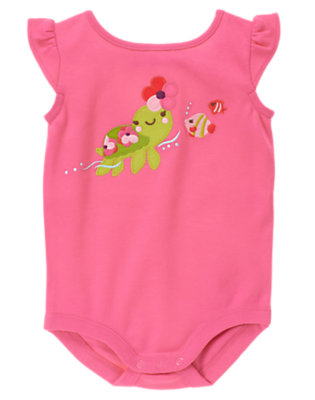 Plumeria Pink Sea Turtle Bodysuit by Gymboree