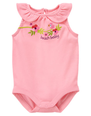 Light Plumeria Pink Beach Baby Parrot Bodysuit by Gymboree