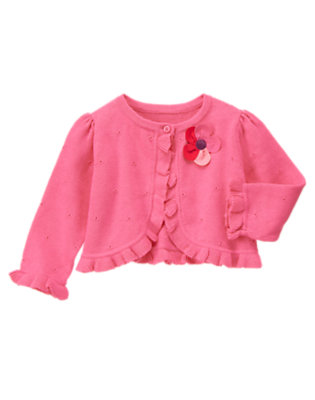 Baby Plumeria Pink Plumeria Blossom Sweater Cardigan by Gymboree