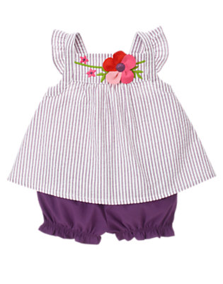 Violet Stripe Plumeria Blossom Stripe Seersucker Two-Piece Set by Gymboree
