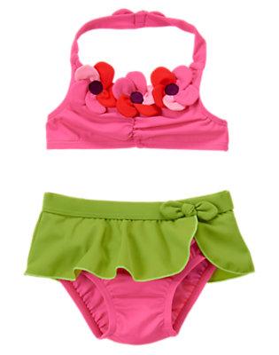 Plumeria Pink Plumeria Blossom Bikini Swimsuit by Gymboree