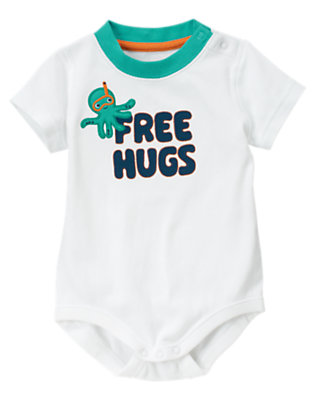 White Free Hugs Octopus Bodysuit by Gymboree