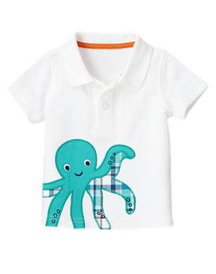 Baby White Plaid Octopus Polo Shirt by Gymboree