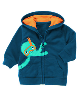 Marine Blue Snorkel Octopus Hoodie by Gymboree