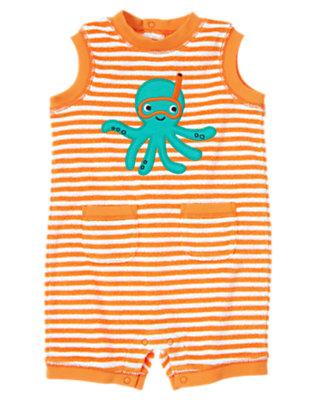Baby Starfish Orange Stripe Octopus Stripe Terry One-Piece by Gymboree