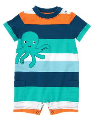 Baby Seaside Blue Stripe Octopus Stripe One-Piece by Gymboree