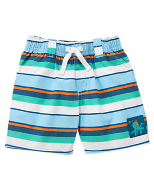 Wave Blue Stripe Octopus Stripe Short by Gymboree