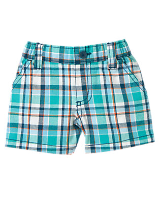 Baby Seaside Blue Plaid Plaid Short by Gymboree