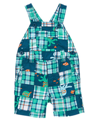 Marine Blue Octopus Patchwork Octopus Plaid Patchwork Shortall by Gymboree