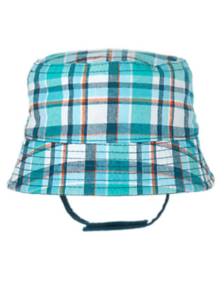Seaside Blue Plaid/Marine Blue Reversible Octopus Bucket Hat by Gymboree