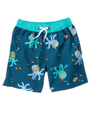 Baby Marine Blue Octopus Octopus Swim Trunk by Gymboree
