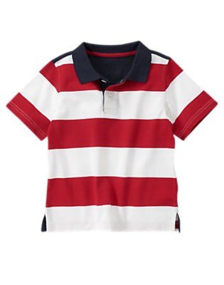True Red Stripe Stars & Stripes Polo Shirt by Gymboree