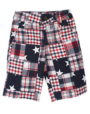 Boys Navy Patchwork Stars & Plaid Patchwork Short by Gymboree