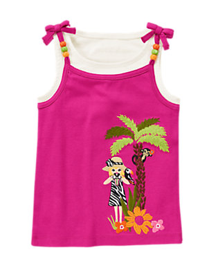 Dahlia Pink Safari Girl Layered Tank by Gymboree