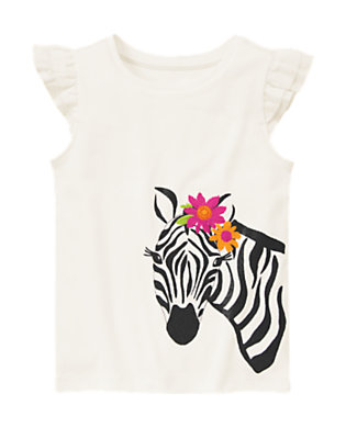 Jet Ivory Embroidered Glitter Zebra Tee by Gymboree
