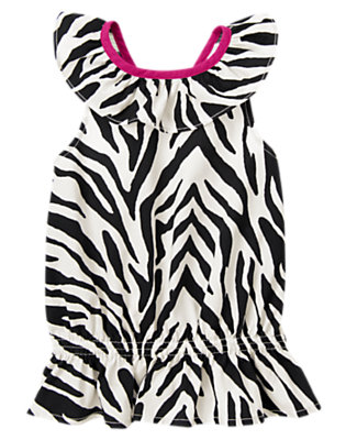 Girls Ivory Zebra Zebra Ruffle Top by Gymboree