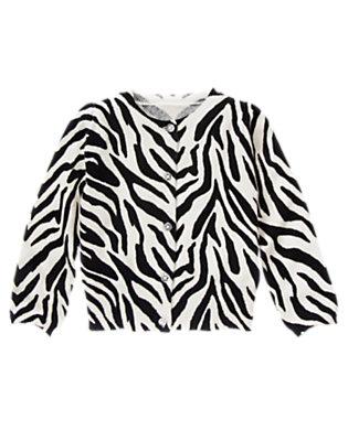 Girls Ivory Zebra Zebra Sweater Cardigan by Gymboree