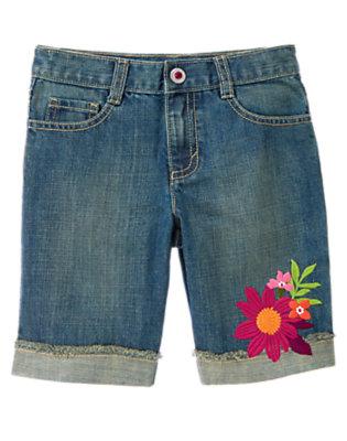 Denim Safari Flower Bermuda Jean Short by Gymboree