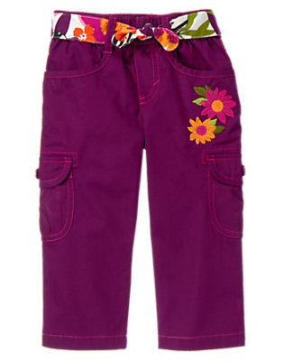Girls Passionfruit Purple Safari Flower Belted Cargo Pant by Gymboree