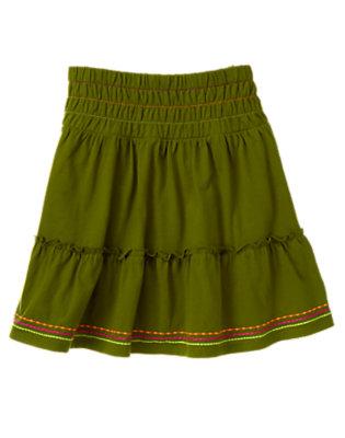 Girls Moss Green Stitched Tiered Ruffle Skirt by Gymboree