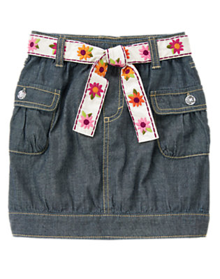 Girls Chambray Embroidered Flower Belt Chambray Skirt by Gymboree