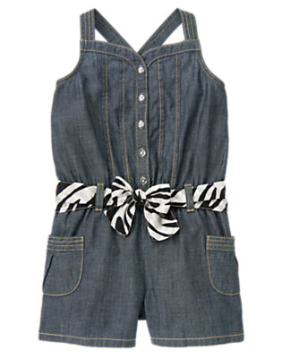 Girls Chambray Zebra Belt Chambray Romper by Gymboree