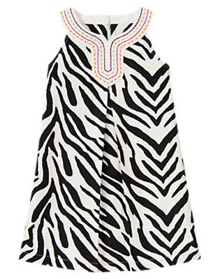 Girls Ivory Zebra Embroidered Zebra Dress by Gymboree