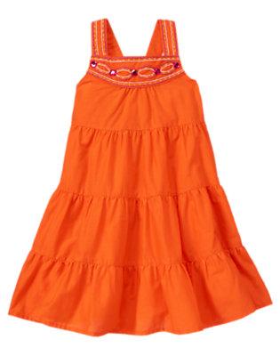 Girls Safari Orange Gem Embroidered Tiered Dress by Gymboree