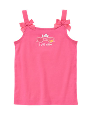 Orchid Pink Bow Strap Hello Sunshine Tank by Gymboree