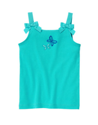 Waterfall Blue Bow Strap Butterfly Tank by Gymboree