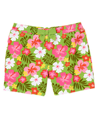Girls Parrot Green Hibiscus Bow Hibiscus Short by Gymboree