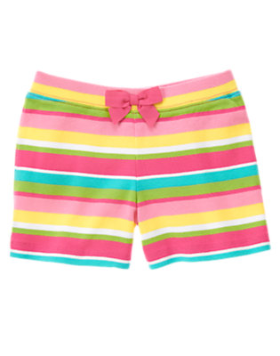 Girls Wildflower Pink Stripe Bow Stripe Short by Gymboree