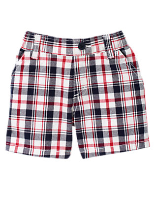 Baby Summer Navy Plaid Plaid Short by Gymboree
