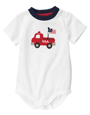 White All-American Fire Truck Bodysuit by Gymboree