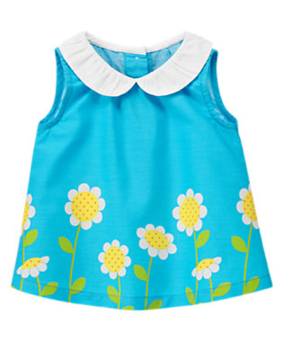 Baby Turquoise Blue Daisy Collared Top by Gymboree