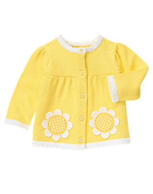 Daisy Yellow Daisy Sweater Cardigan by Gymboree