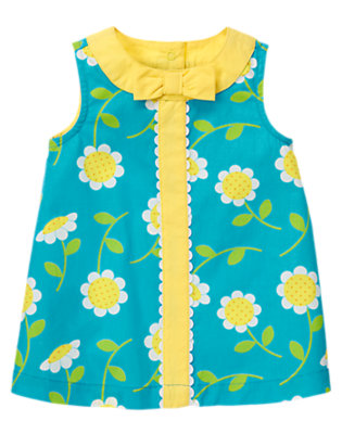 Baby Turquoise Blue Daisy Daisy Circle Trim Dress by Gymboree
