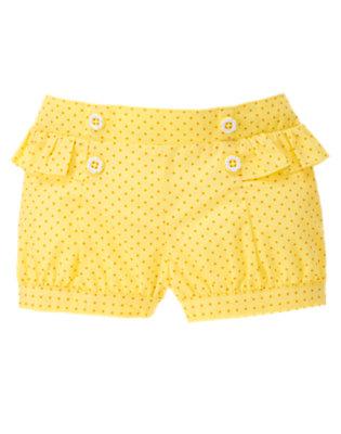 Daisy Yellow Dot Dot Ruffle Button Short by Gymboree