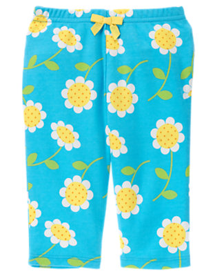 Turquoise Blue Daisy Daisy Bow Legging by Gymboree