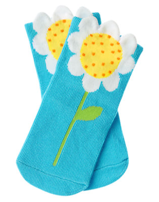 Baby Turquoise Blue Daisy Sock by Gymboree