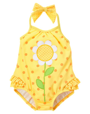Daisy Yellow Dot Daisy Dot One-Piece Swimsuit by Gymboree