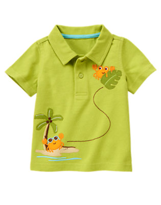 Island Green Crab & Palm Polo Shirt by Gymboree
