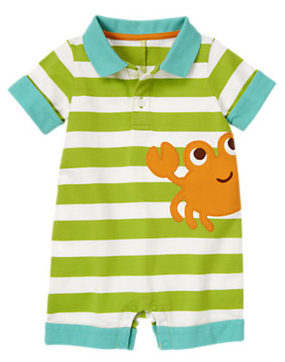 Island Green Stripe Crab Stripe Polo One-Piece by Gymboree