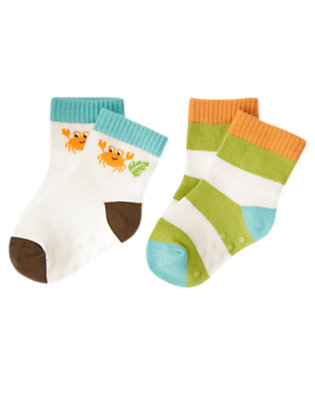 White Crab Stripe Sock Two-Pack by Gymboree