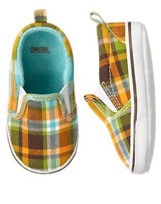 Baby Island Green Plaid Plaid Sneaker Crib Shoe by Gymboree