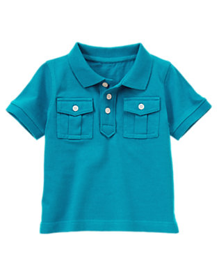 Teal Blue Pocket Polo Shirt by Gymboree