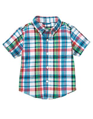 Teal Blue Plaid Plaid Shirt by Gymboree