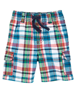 Teal Blue Plaid Pull-On Plaid Cargo Short by Gymboree