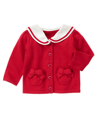 Baby Sailboat Red Sailor Collar Sweater Cardigan by Gymboree